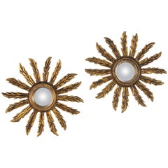 Pair of Early 20th Century Giltwood Convex Mini Sunburst Mirrors