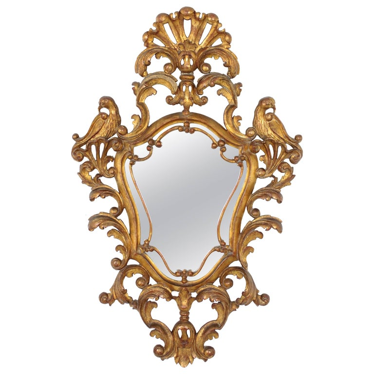 Late 19th Century Spanish Rococo Style Carved Gold Leaf Giltwood Mirror For Sale