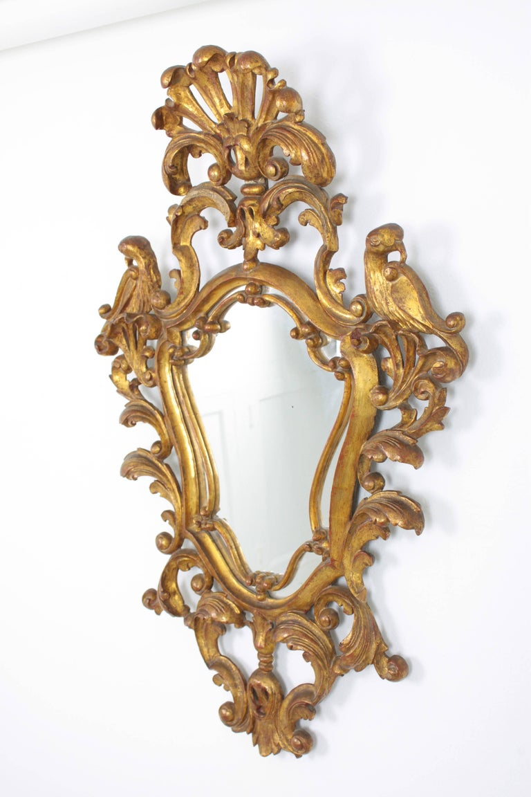 Late 19th Century Spanish Rococo Style Carved Gold Leaf Giltwood Mirror In Good Condition For Sale In Barcelona, ES