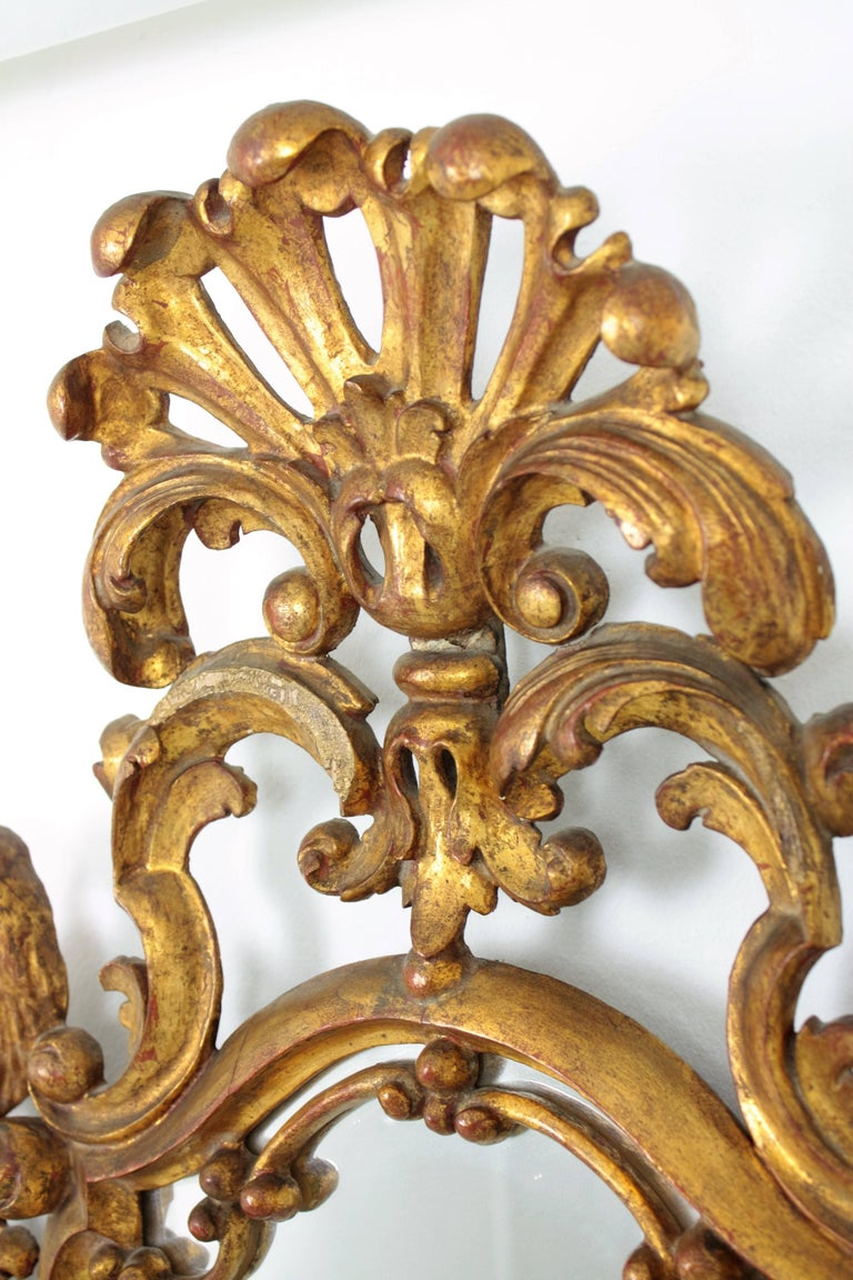 Late 19th Century Spanish Rococo Style Carved Gold Leaf Giltwood Mirror For Sale 1