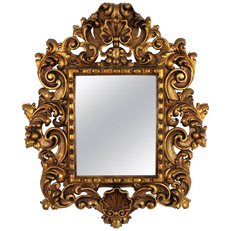Spanish 19th Century Rococo Style Carved Gold Leaf Giltwood Mirror