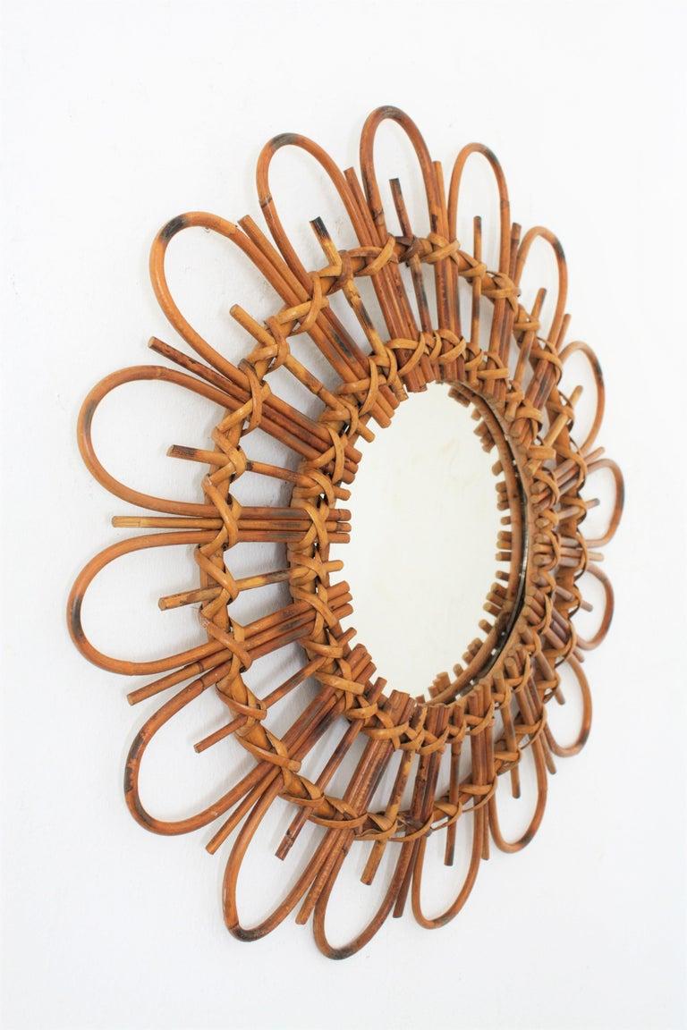 Mid-Century Modern 1960s French Mediterranean Coast Flower Burst Bamboo Rattan Mirror For Sale
