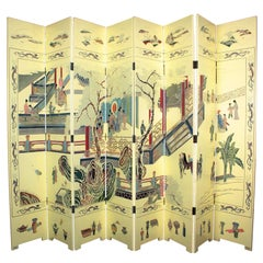 1950s Eight-Panel Ivory Lacquered Chinoiserie Folding Screen or Room Divider