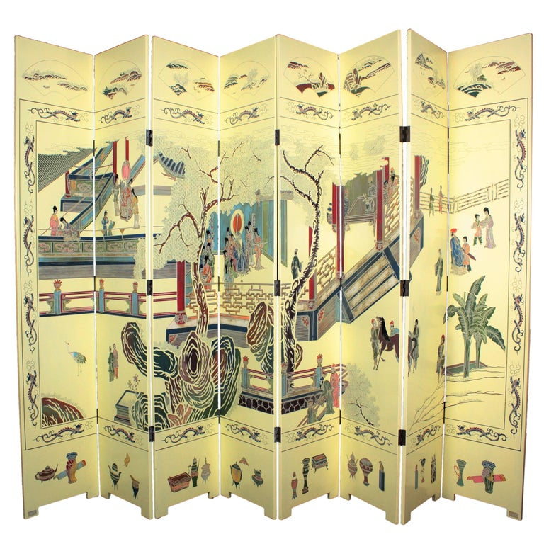 1950s Eight-Panel Ivory Lacquered Chinoiserie Folding Screen or Room Divider For Sale