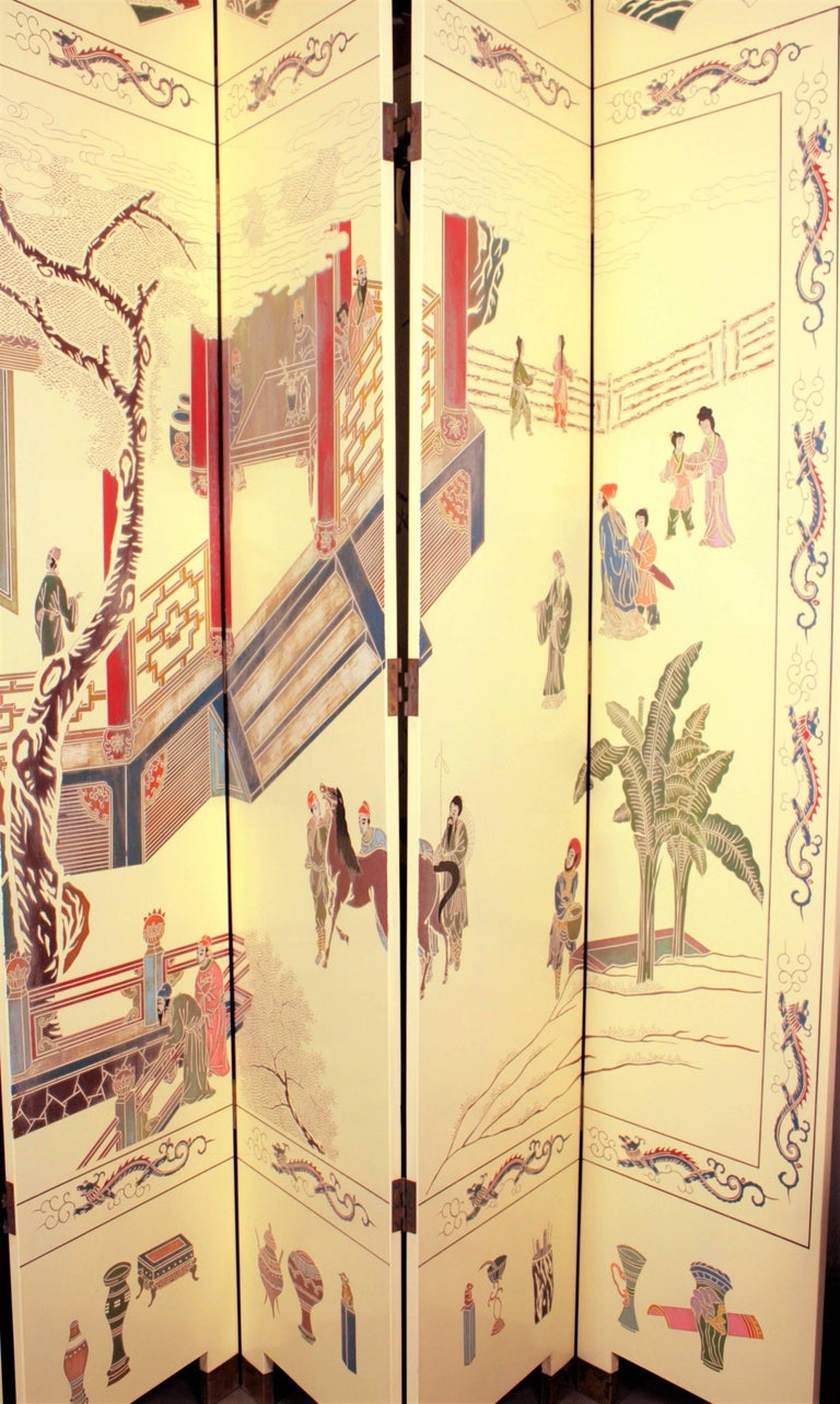 Brass 1950s Eight-Panel Ivory Lacquered Chinoiserie Folding Screen or Room Divider For Sale