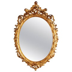 Huge Palatial French 19th Century Rococo Carved Gold Leaf Giltwood Oval Mirror