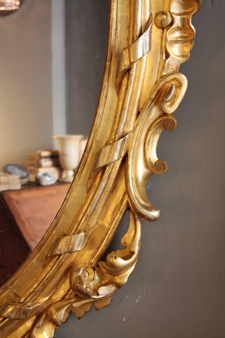 Huge Palatial French 19th Century Rococo Carved Gold Leaf Giltwood Oval Mirror In Excellent Condition For Sale In Barcelona, ES