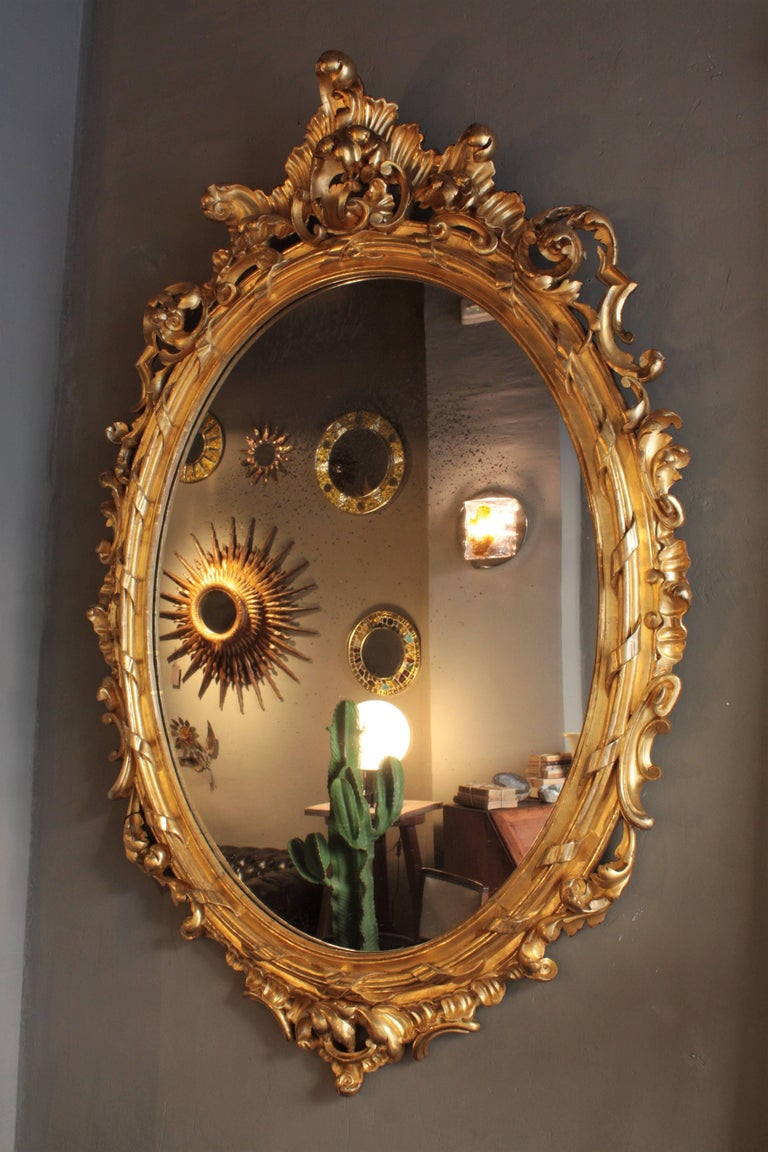 Huge Palatial French 19th Century Rococo Carved Gold Leaf Giltwood Oval Mirror For Sale 1