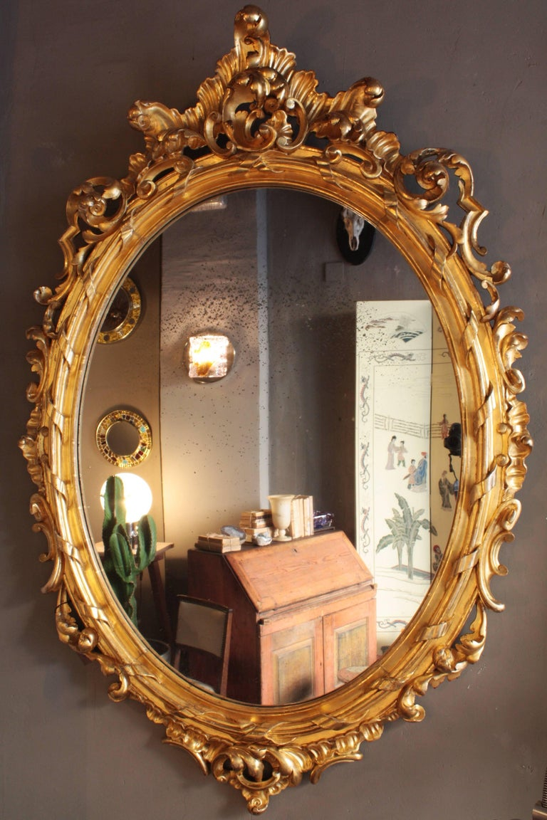 Hand-Carved Huge Palatial French 19th Century Rococo Carved Gold Leaf Giltwood Oval Mirror For Sale