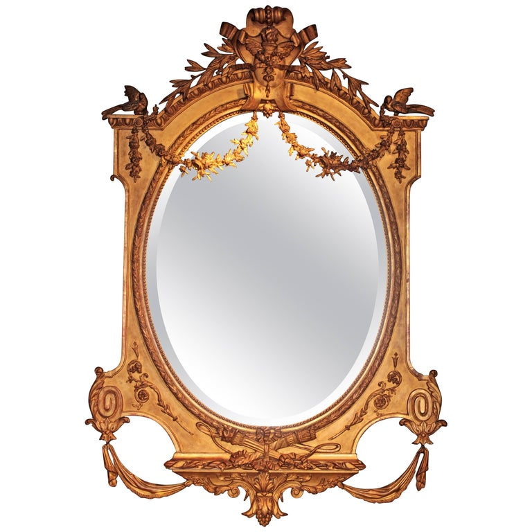 Huge Palatial French 19th Century Louis XVI Ornamental Giltwood Mirror For Sale