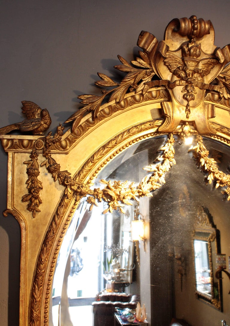 Huge Palatial French 19th Century Louis XVI Ornamental Giltwood Mirror For Sale 1