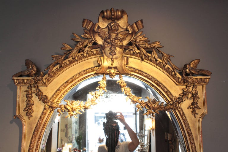Huge Palatial French 19th Century Louis XVI Ornamental Giltwood Mirror For Sale 2