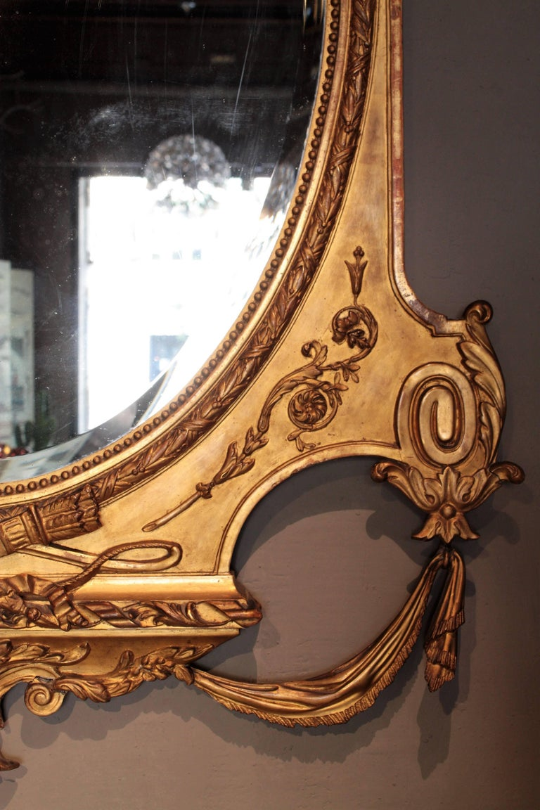Huge Palatial French 19th Century Louis XVI Ornamental Giltwood Mirror For Sale 3