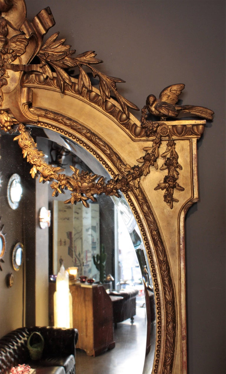 Huge Palatial French 19th Century Louis XVI Ornamental Giltwood Mirror For Sale 5