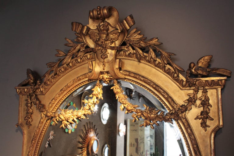 Huge Palatial French 19th Century Louis XVI Ornamental Giltwood Mirror For Sale 6