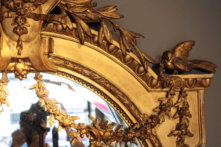 Huge Palatial French 19th Century Louis XVI Ornamental Giltwood Mirror For Sale 7