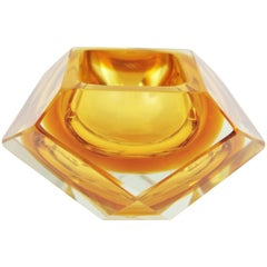 Italian Midcentury Flavio Poli Orange Yellow Faceted Sommerso Murano Glass Bowl
