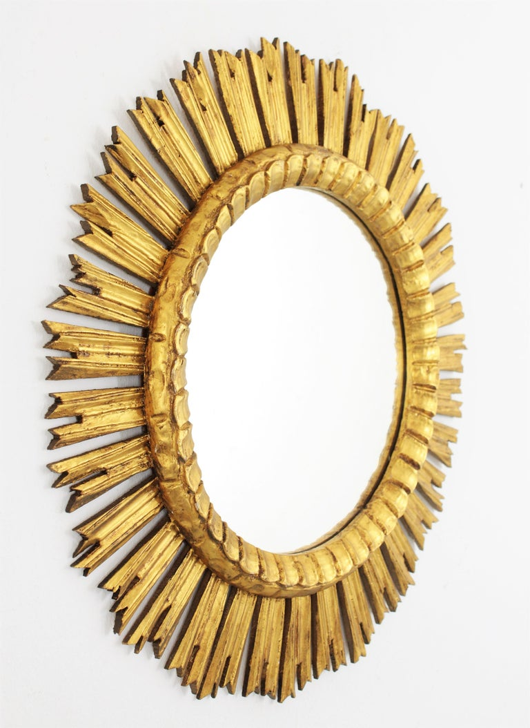 20th Century French, 1930s Carved Baroque Style Giltwood Large Sunburst Mirror For Sale