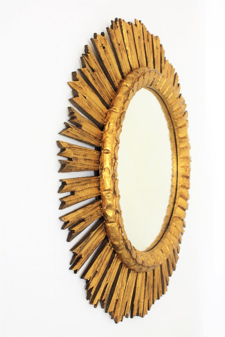 French, 1930s Carved Baroque Style Giltwood Large Sunburst Mirror For Sale 1
