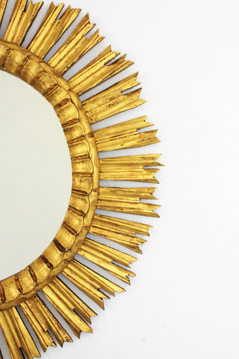 French, 1930s Carved Baroque Style Giltwood Large Sunburst Mirror For Sale 3