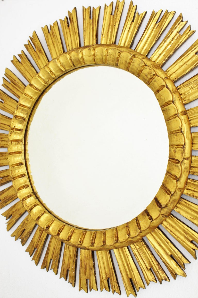 French, 1930s Carved Baroque Style Giltwood Large Sunburst Mirror For Sale 5