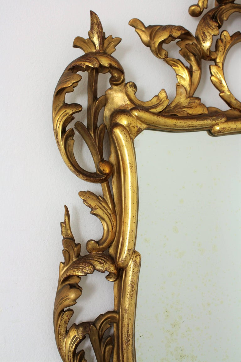 19th Century Spanish Rococo Style Finely Carved Gold Leaf Giltwood Mirror In Excellent Condition For Sale In Barcelona, ES