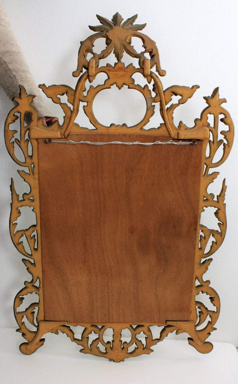 19th Century Spanish Rococo Style Finely Carved Gold Leaf Giltwood Mirror For Sale 6