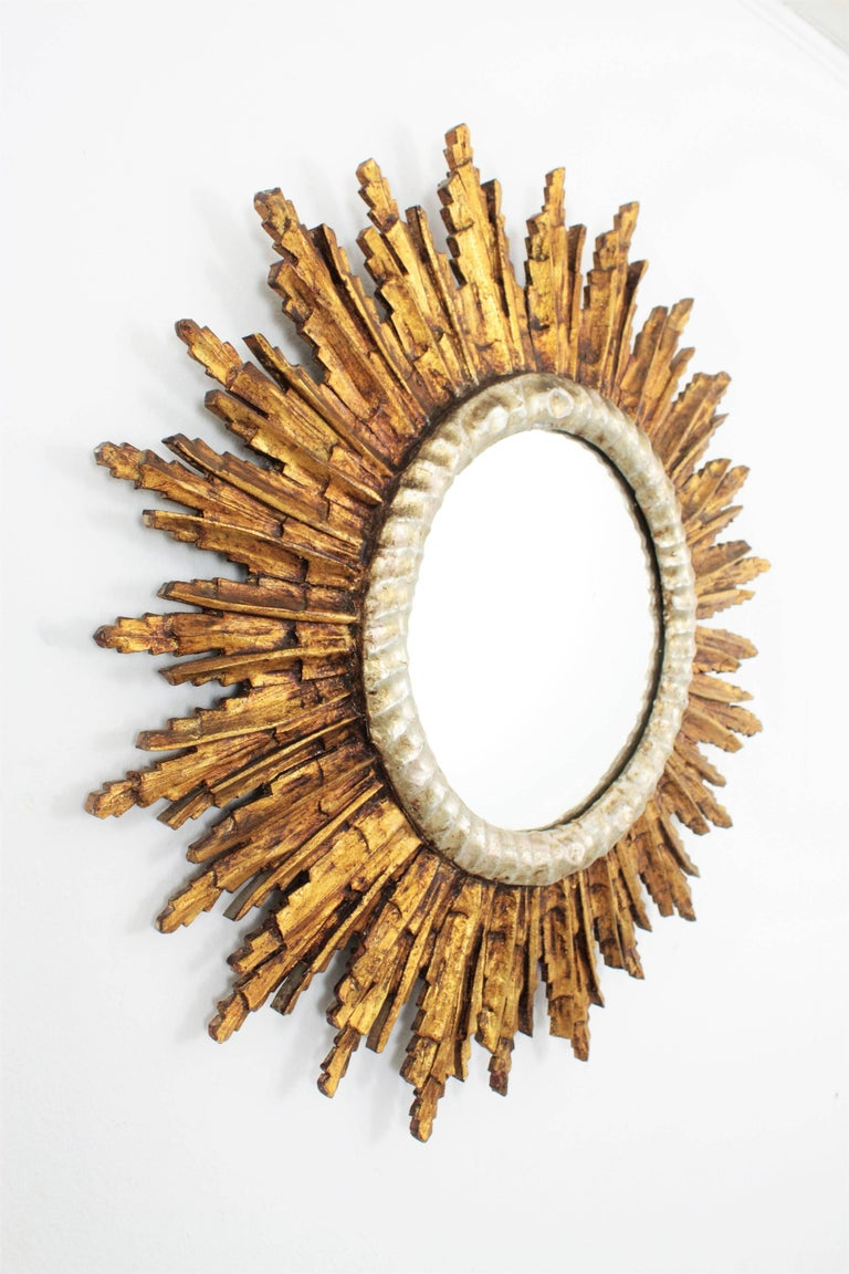 French Baroque Style Silver and Gold Gilt Carved Wood Large Sunburst Mirror In Excellent Condition For Sale In Barcelona, ES