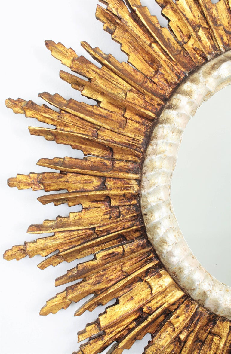 Mid-20th Century French Baroque Style Silver and Gold Gilt Carved Wood Large Sunburst Mirror For Sale