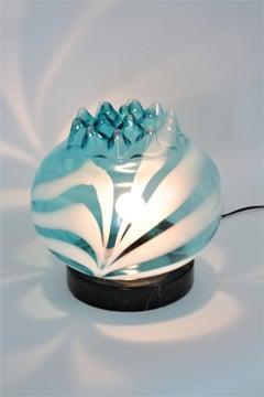 Italian 1950s Tyra Lundgren for Venini Blue Glass Table Lamp
