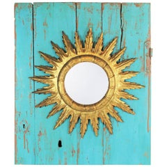 Spanish 1950s Gold Leaf Giltwood Sunburst Mirror and Turquoise Wall Decoration