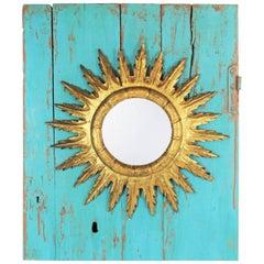 Spanish 1950s Gold Leaf Giltwood Sunburst Mirror and Turquoise Wall Decoration