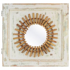 Mediterranean 1960s Bamboo Sunburst Mirror Wall Decoration, Spain, 1960s
