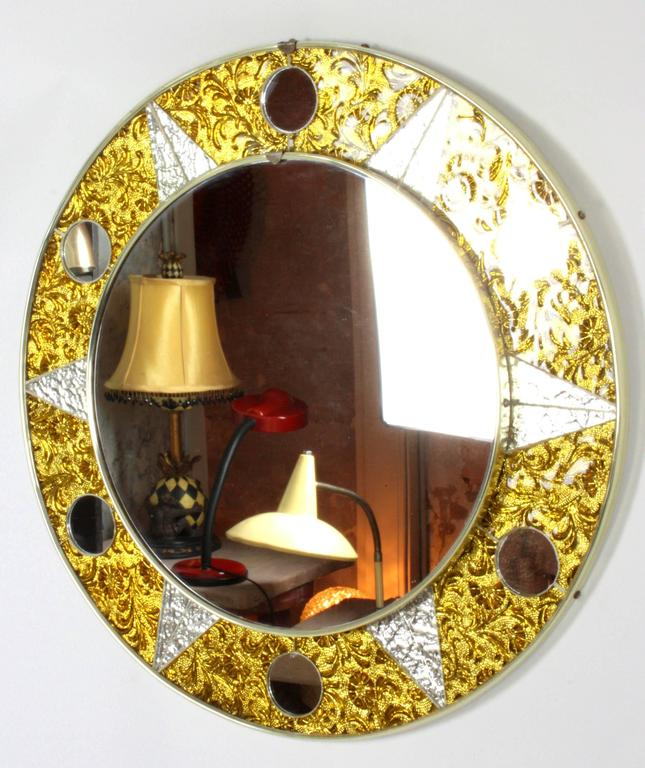 Mid-Century Modern Unusual 20th Century Circular Mosaic Sun Mirror For Sale