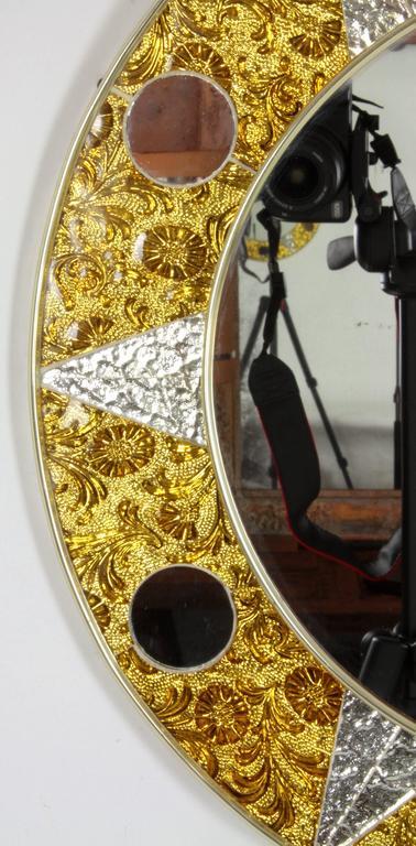 Spanish Unusual 20th Century Circular Mosaic Sun Mirror For Sale