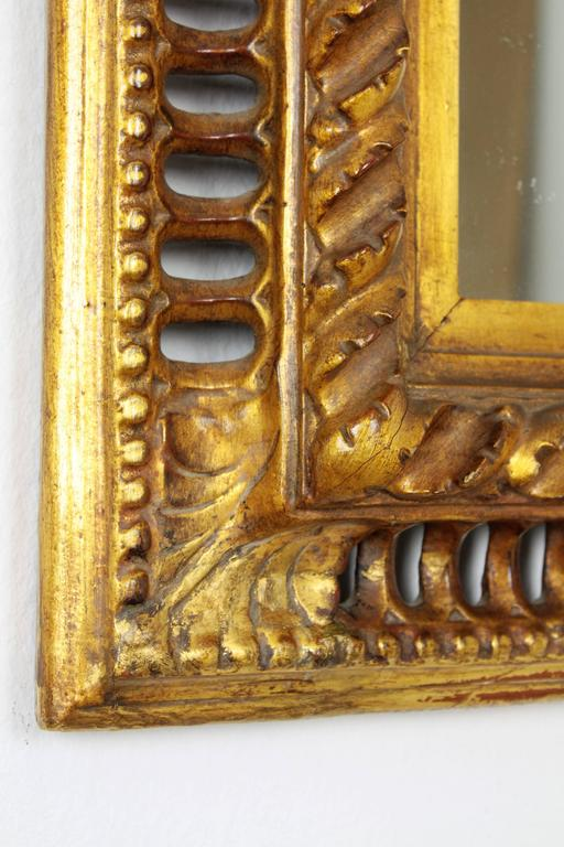 Carved 19th Century Spanish Baroque Style Giltwood Mirror For Sale