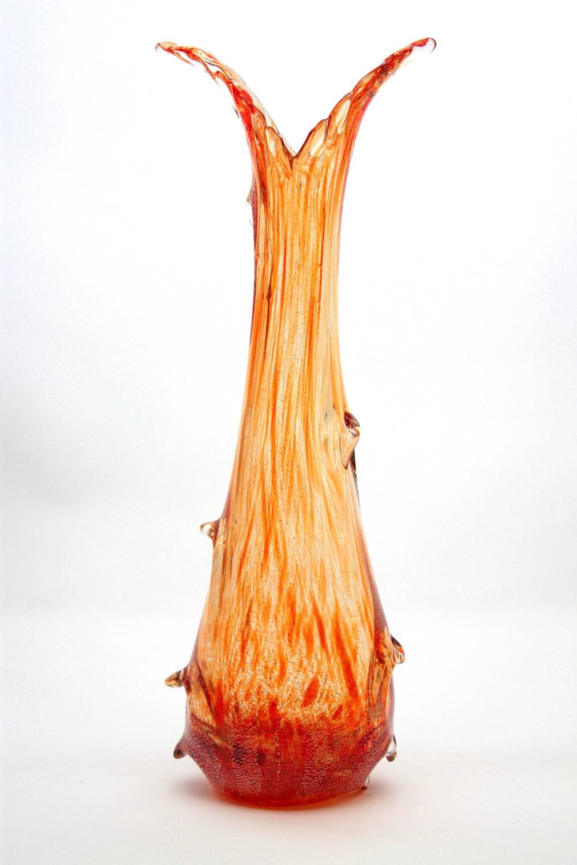 Large Seguso Silver Aventurine Flecks Striped Murano Glass Vase 1940s For Sale At 1stdibs