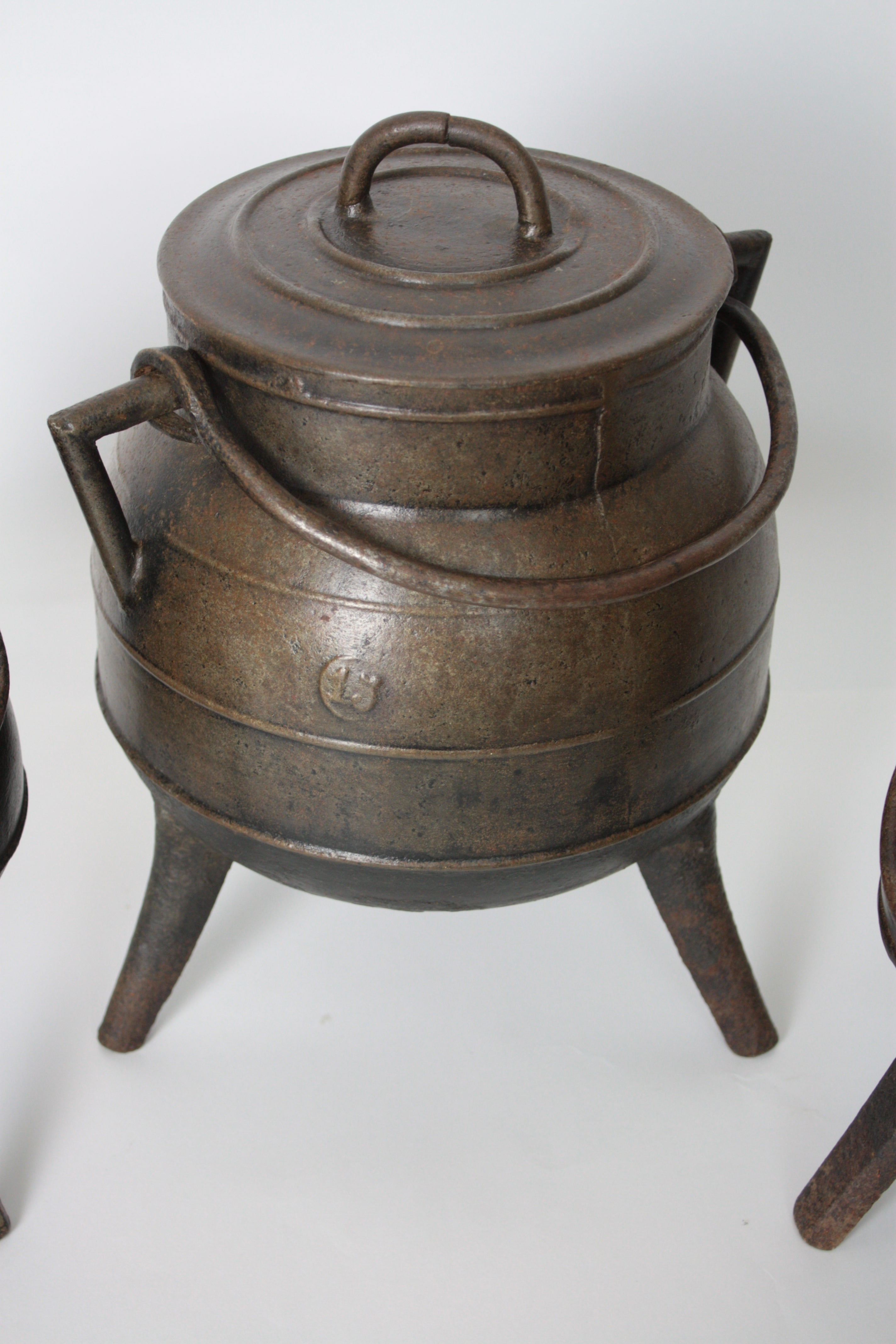 Set of Three Spanish 1930s Cast Iron Kitchen Pots or Cauldrons