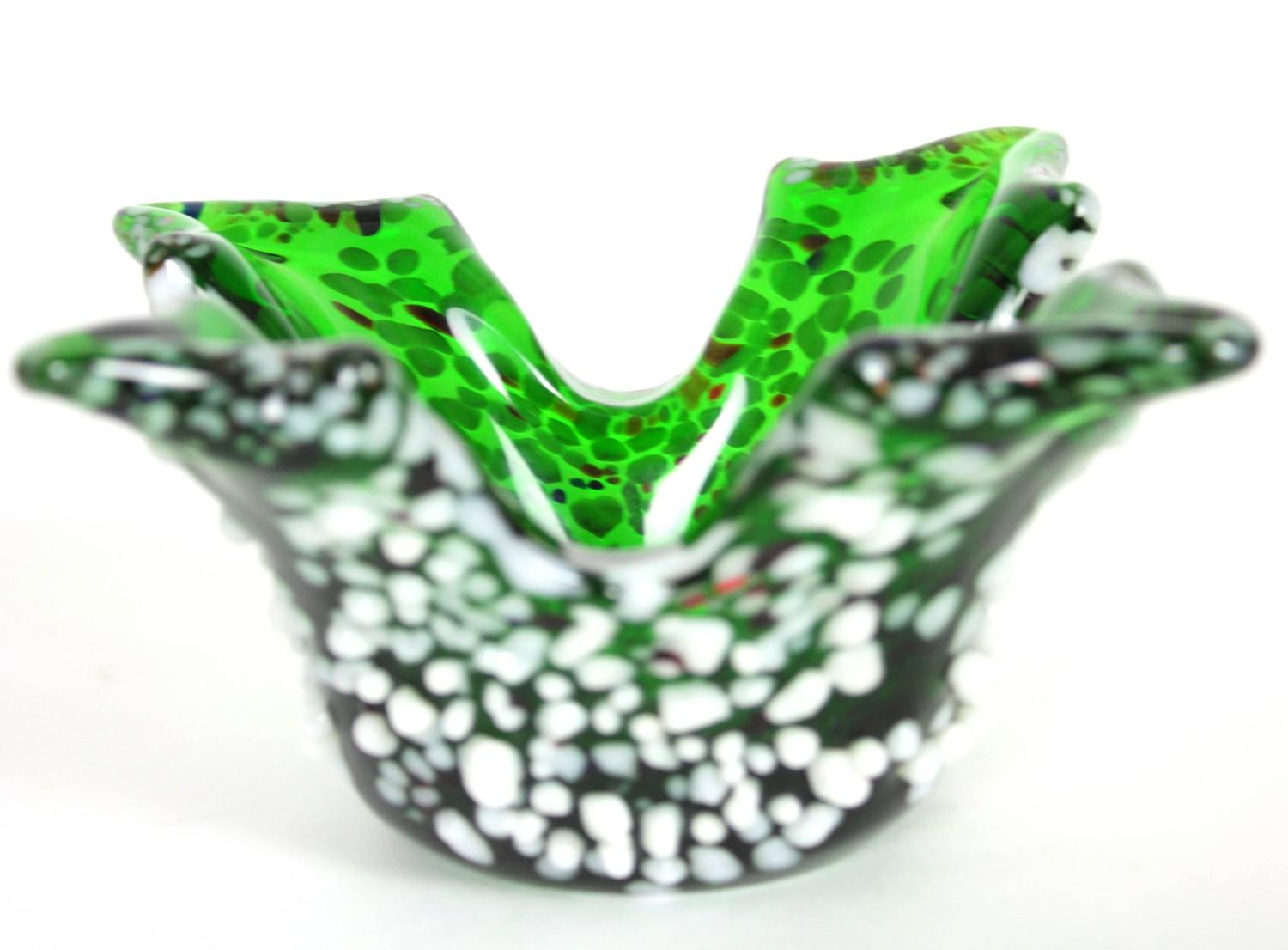 Sculptural Emerald Green Murano Art Glass Bowl With White Murrine Decorations For Sale At 1stdibs
