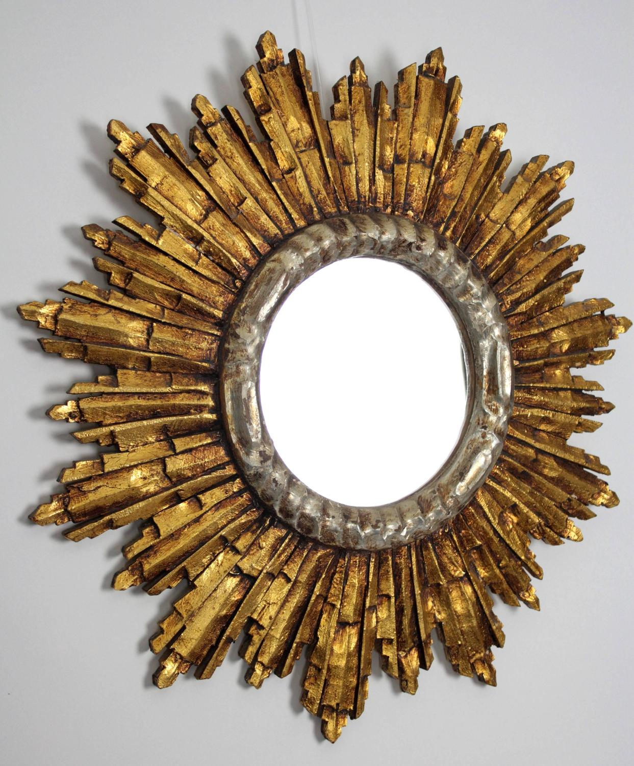 French baroque style giltwood and silver sunburst mirror for Silver mirrors for sale