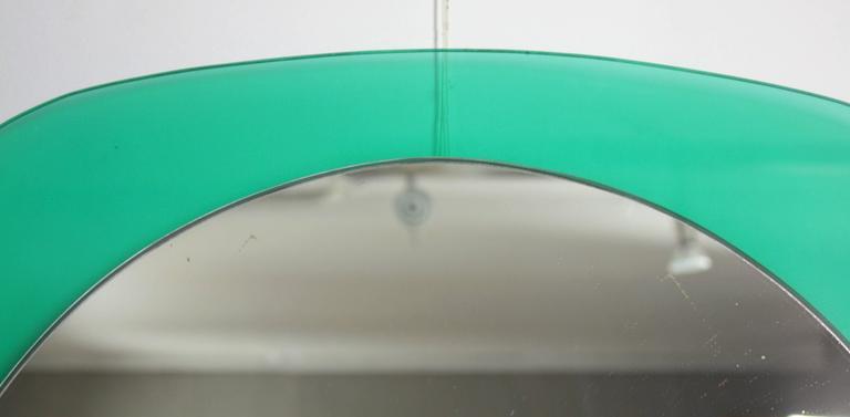 Glass  Mid-Century Modern Italian Aqua Green Lucite Oval Wall Mirror For Sale