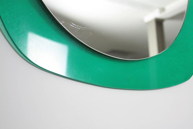 Mid-Century Modern Italian Aqua Green Lucite Oval Wall Mirror For Sale 1
