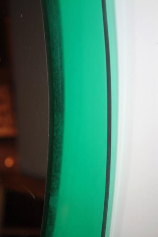 Mid-Century Modern Italian Aqua Green Lucite Oval Wall Mirror For Sale 2