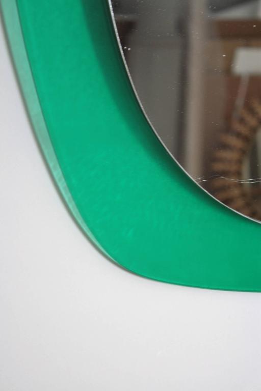 20th Century  Mid-Century Modern Italian Aqua Green Lucite Oval Wall Mirror For Sale