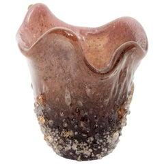 Italian 1950s Octopus Skin Print Animal Blown Murano Art Glass Fazzoletto Vase