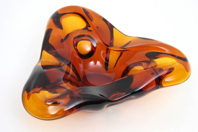 Italian Large Archimede Seguso Amber Murano Glass Ashtray For Sale