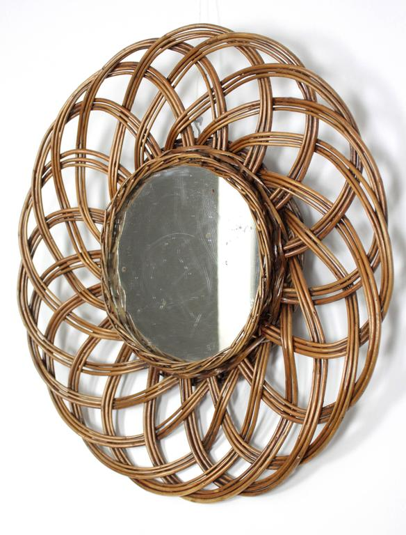 Wicker mirror with beautiful flower burst handmade design, Mediterranean Coast style, Spain, circa 1960.