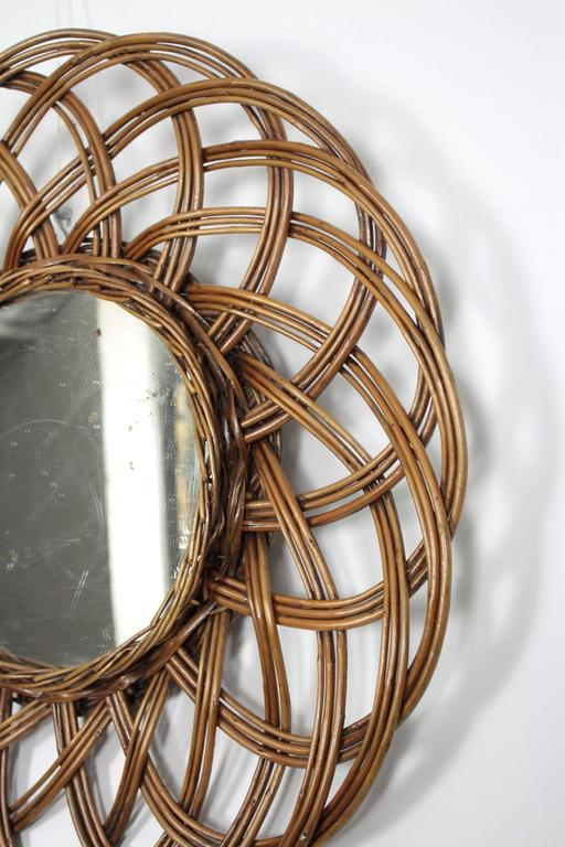 Hand-Crafted Spanish 1960s Handcrafted Rattan Flower Burst Circular Mirror For Sale
