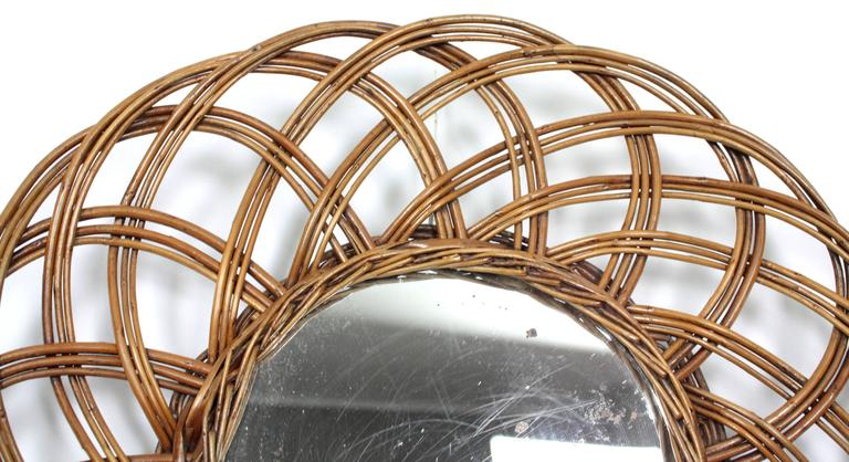 Mid-20th Century Spanish 1960s Handcrafted Rattan Flower Burst Circular Mirror For Sale