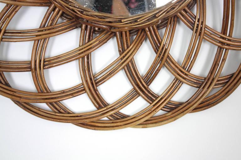Spanish 1960s Handcrafted Rattan Flower Burst Circular Mirror For Sale 1